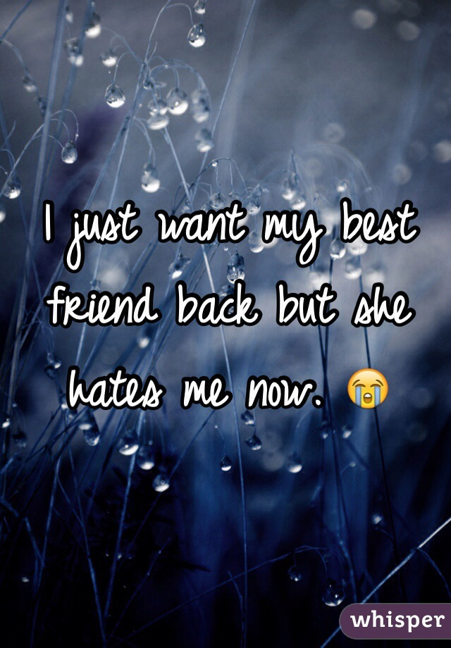 I just want my best friend back but she hates me now. 😭