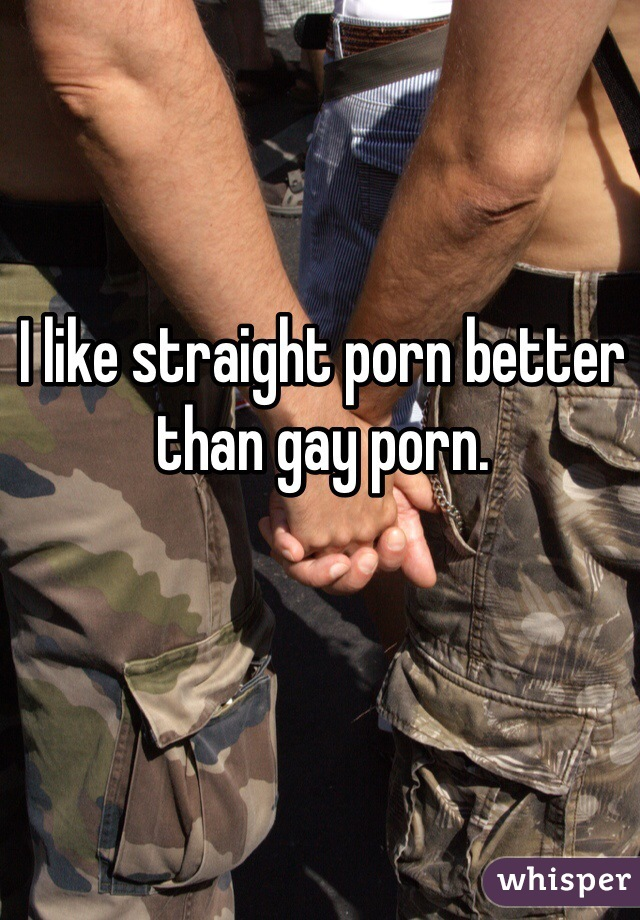 I like straight porn better than gay porn.