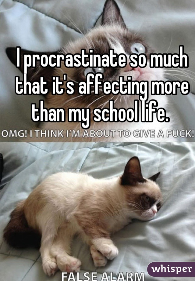 I procrastinate so much that it's affecting more than my school life.