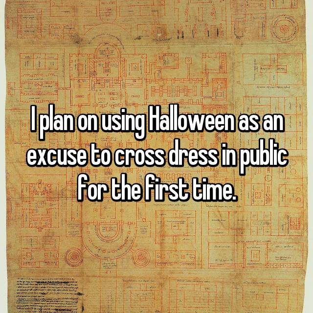 I plan on using Halloween as an excuse to cross dress in public for the first time.