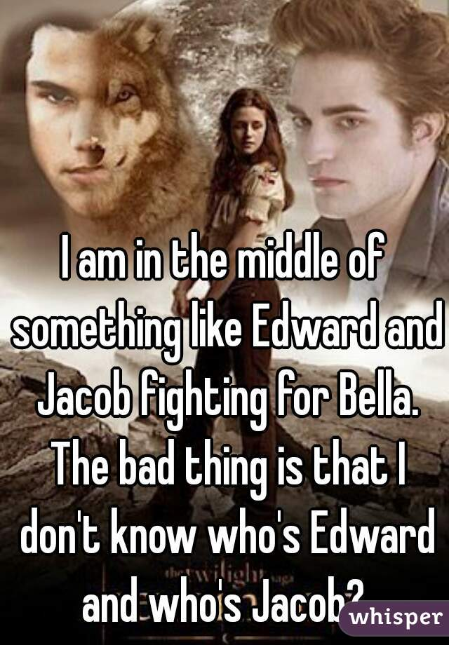 I am in the middle of something like Edward and Jacob fighting for Bella. The bad thing is that I don't know who's Edward and who's Jacob?
