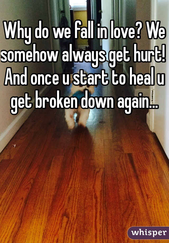 Why do we fall in love? We somehow always get hurt! And once u start to heal u get broken down again...