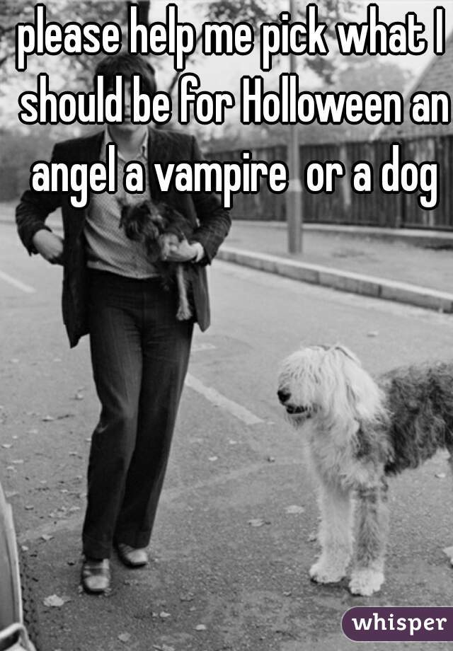 please help me pick what I should be for Holloween an angel a vampire  or a dog