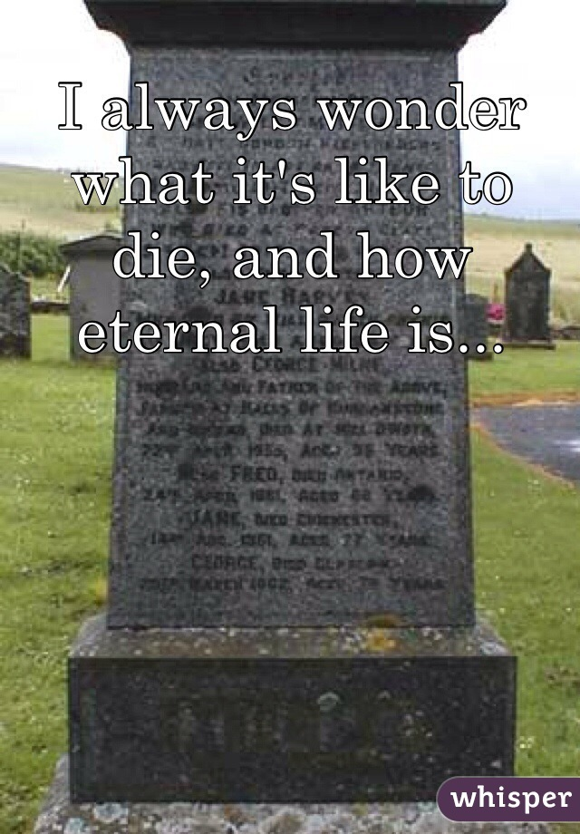 I always wonder what it's like to die, and how eternal life is...