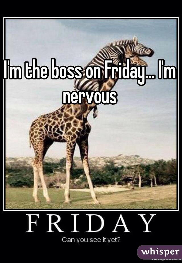 I'm the boss on Friday... I'm nervous