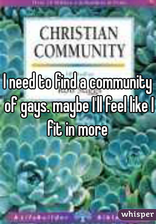 I need to find a community of gays. maybe I'll feel like I fit in more