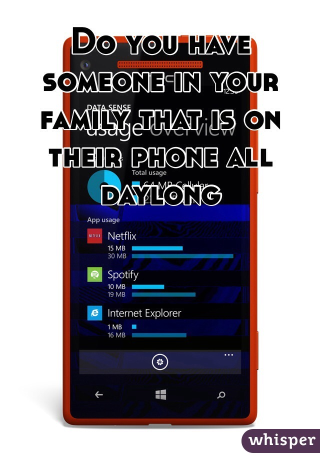 Do you have someone in your family that is on their phone all daylong