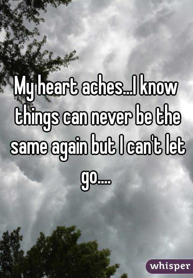 My heart aches...I know things can never be the same again but I can't let go....
