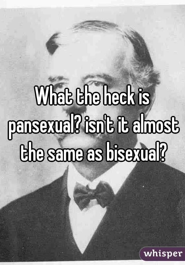 What the heck is pansexual? isn't it almost the same as bisexual?