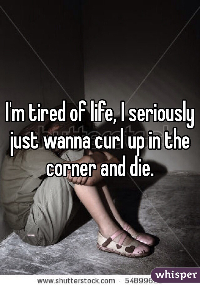 I'm tired of life, I seriously just wanna curl up in the corner and die.
