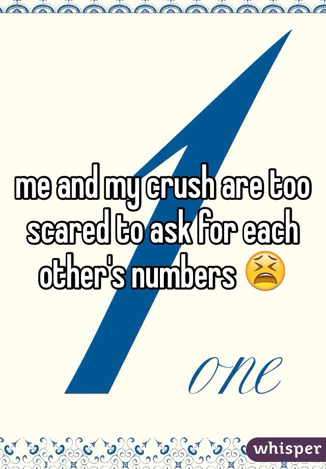 me and my crush are too scared to ask for each other's numbers 😫