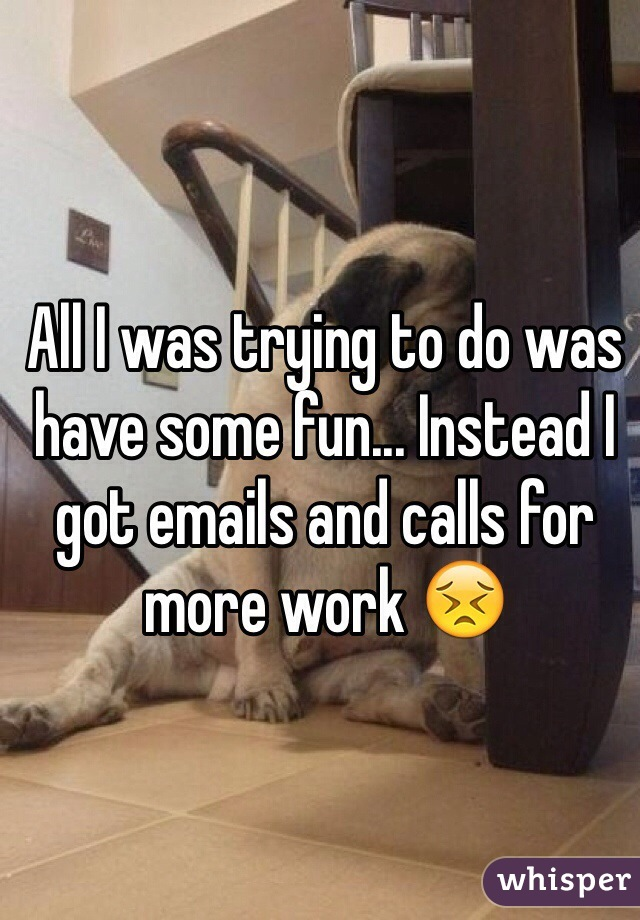 All I was trying to do was have some fun... Instead I got emails and calls for more work 😣