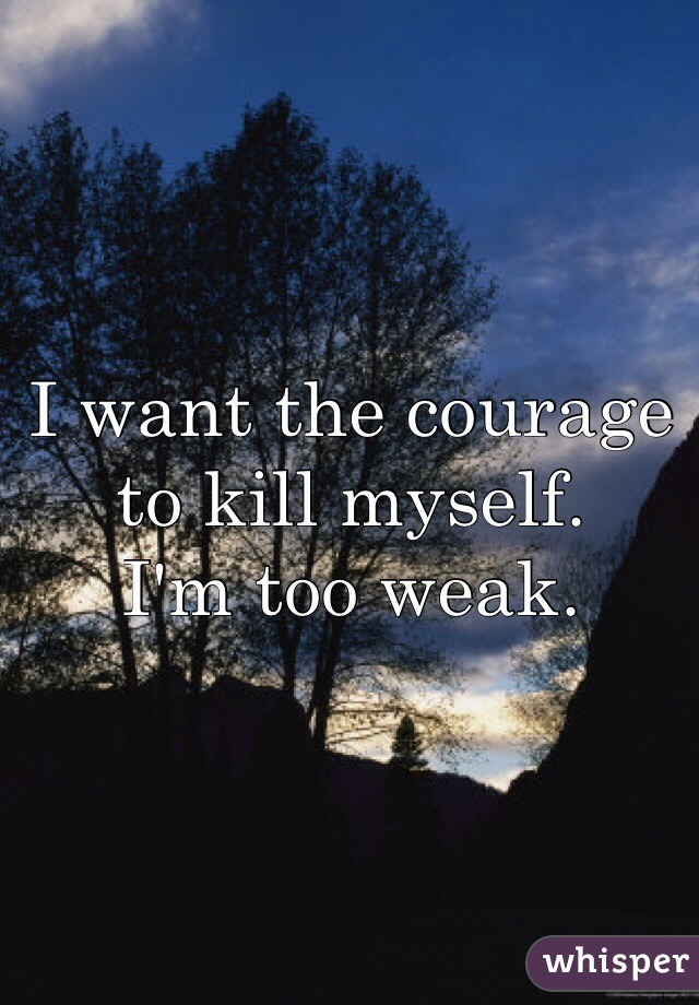 I want the courage to kill myself. I'm too weak.