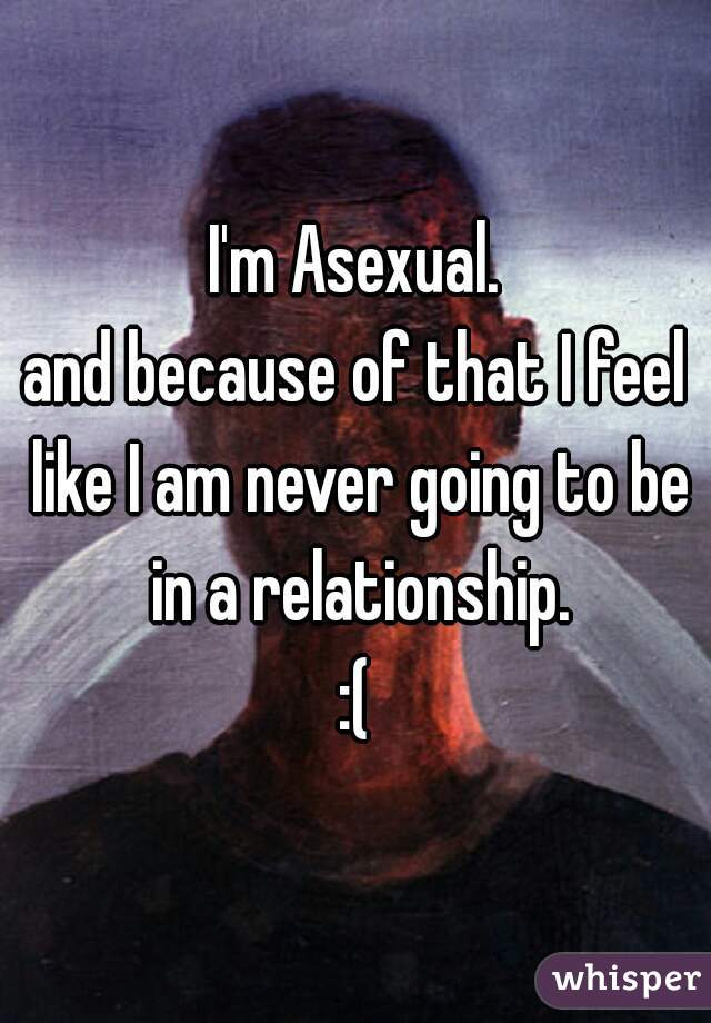 I'm Asexual. and because of that I feel like I am never going to be in a relationship. :(