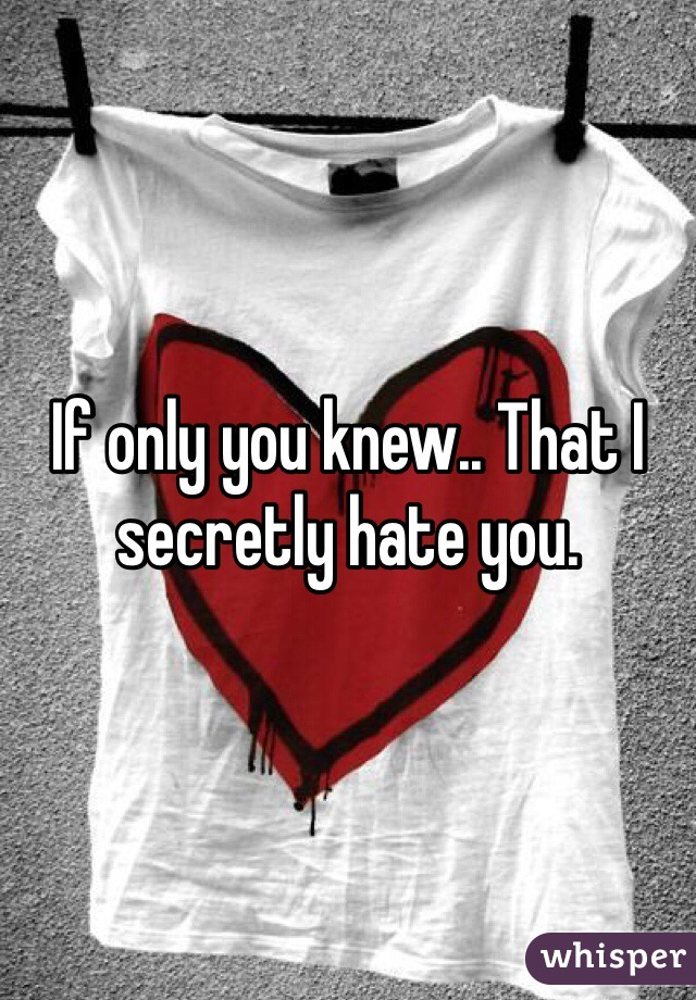 If only you knew.. That I secretly hate you.