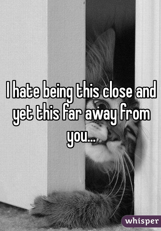 I hate being this close and yet this far away from you...