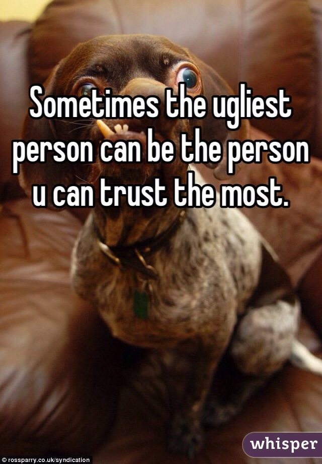 Sometimes the ugliest person can be the person u can trust the most.