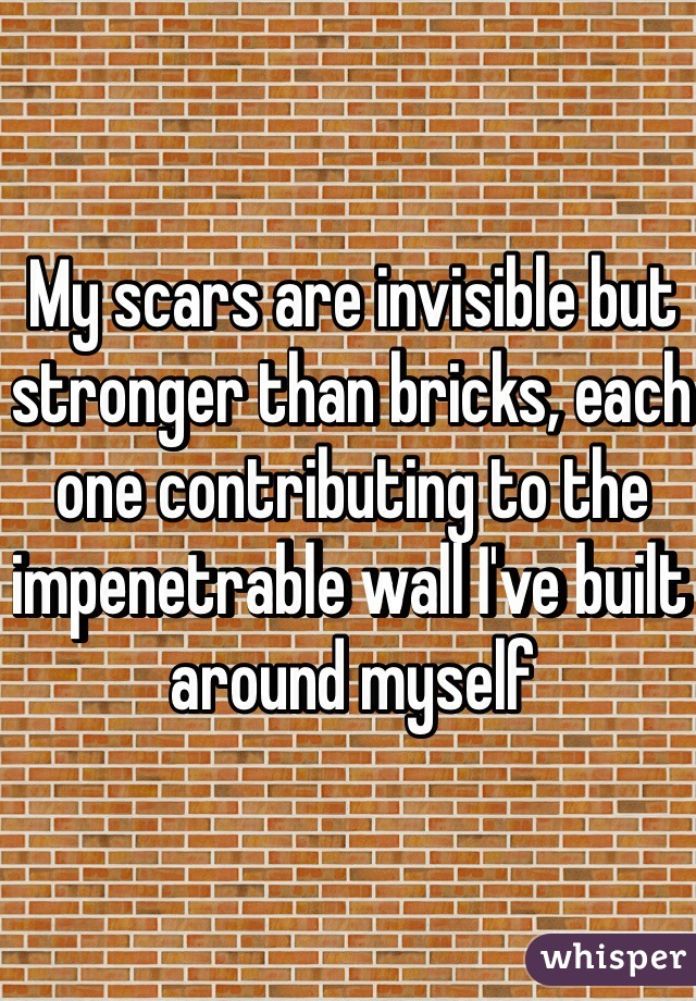My scars are invisible but stronger than bricks, each one contributing to the impenetrable wall I've built around myself