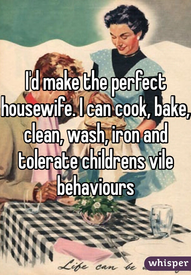I'd make the perfect housewife. I can cook, bake, clean, wash, iron and tolerate childrens vile behaviours