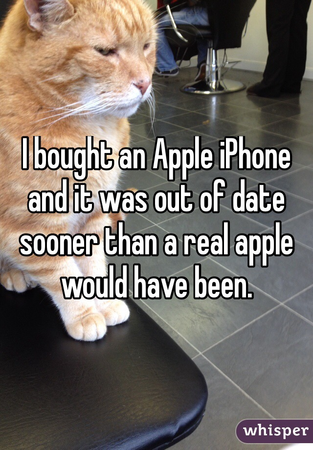 I bought an Apple iPhone and it was out of date sooner than a real apple would have been.