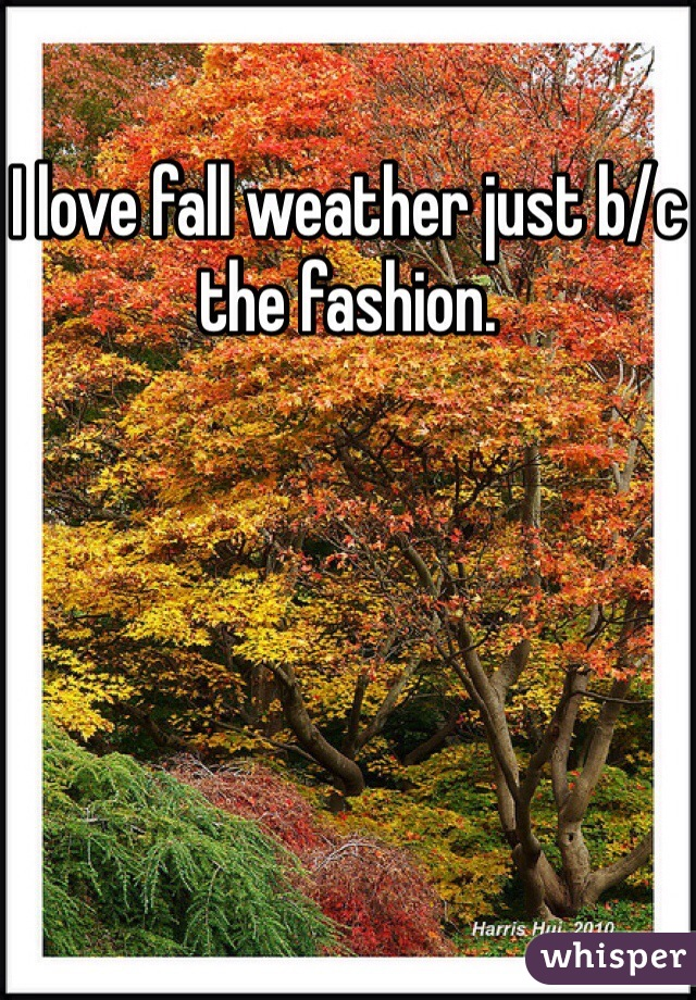 I love fall weather just b/c the fashion.