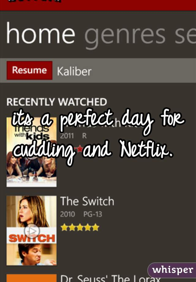 its a perfect day for cuddling and Netflix.