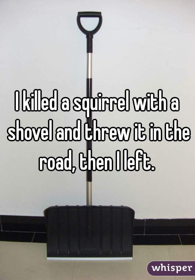 I killed a squirrel with a shovel and threw it in the road, then I left.