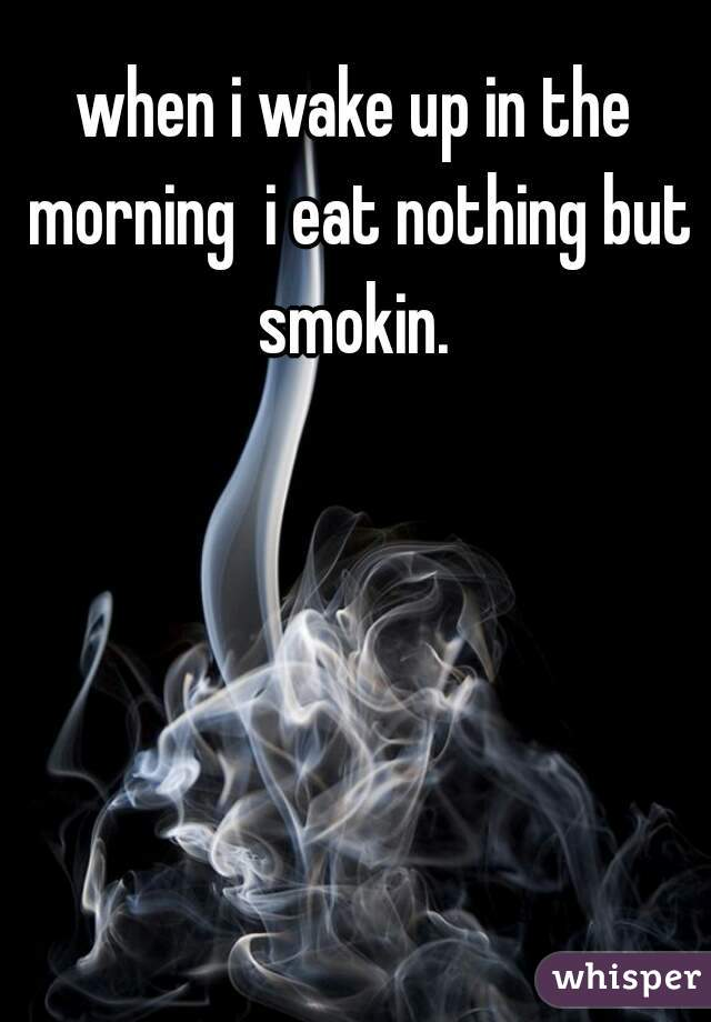 when i wake up in the morning  i eat nothing but smokin.
