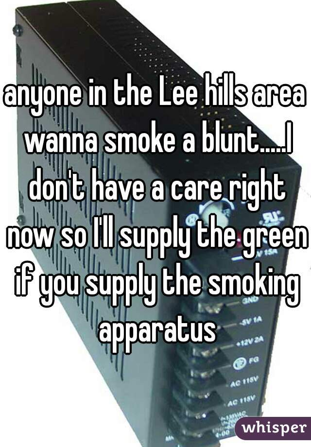 anyone in the Lee hills area wanna smoke a blunt.....I don't have a care right now so I'll supply the green if you supply the smoking apparatus
