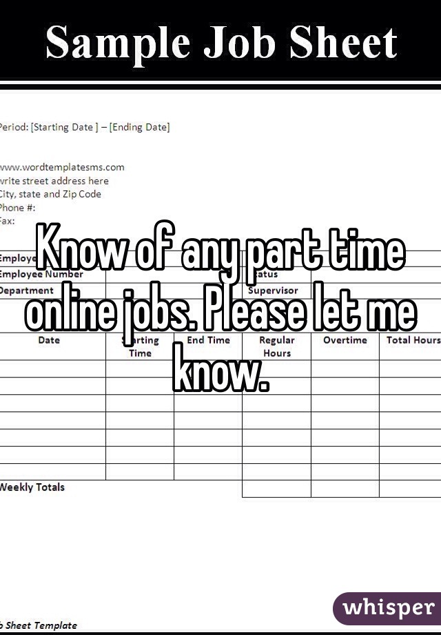 Know of any part time online jobs. Please let me know.