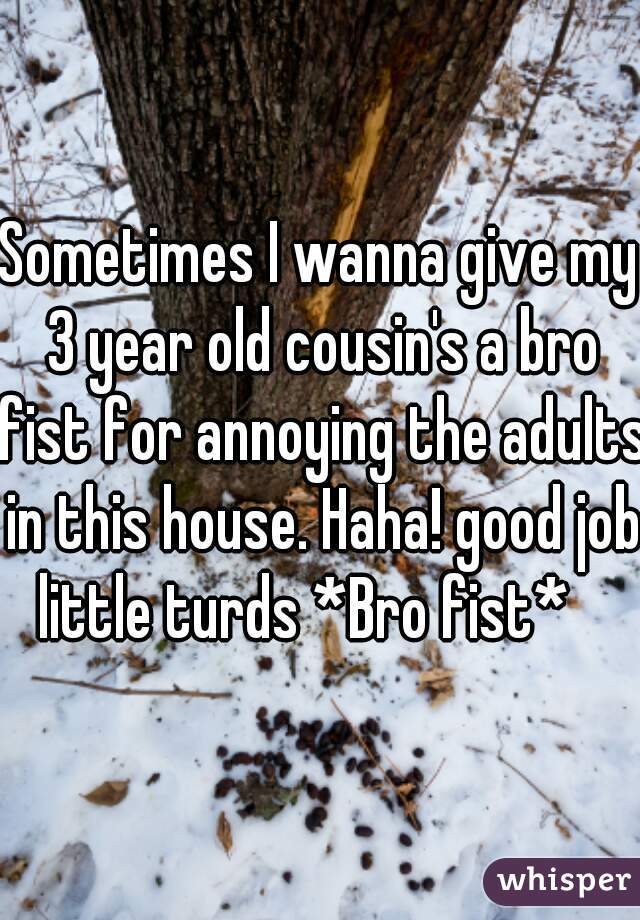 Sometimes I wanna give my 3 year old cousin's a bro fist for annoying the adults in this house. Haha! good job little turds *Bro fist*