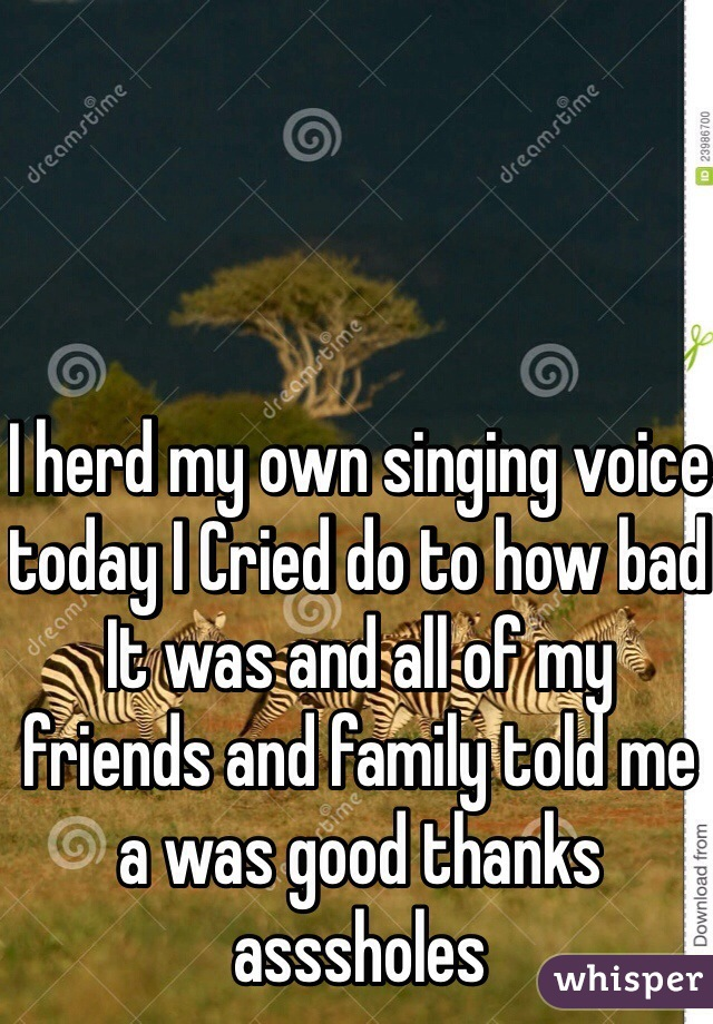 I herd my own singing voice today I Cried do to how bad  It was and all of my friends and family told me a was good thanks asssholes
