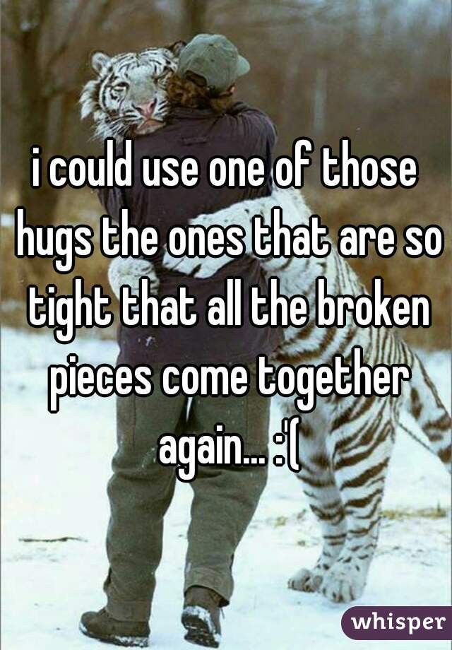 i could use one of those hugs the ones that are so tight that all the broken pieces come together again... :'(