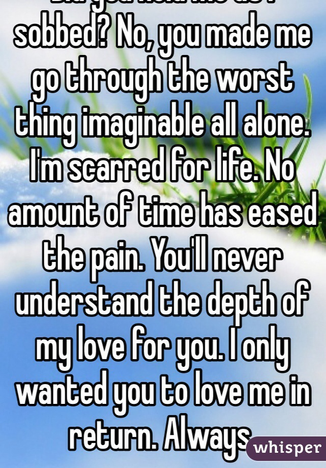Did you hear me as I cried? Did you hold me as I sobbed? No, you made me go through the worst thing imaginable all alone. I'm scarred for life. No amount of time has eased the pain. You'll never understand the depth of my love for you. I only wanted you to love me in return. Always.