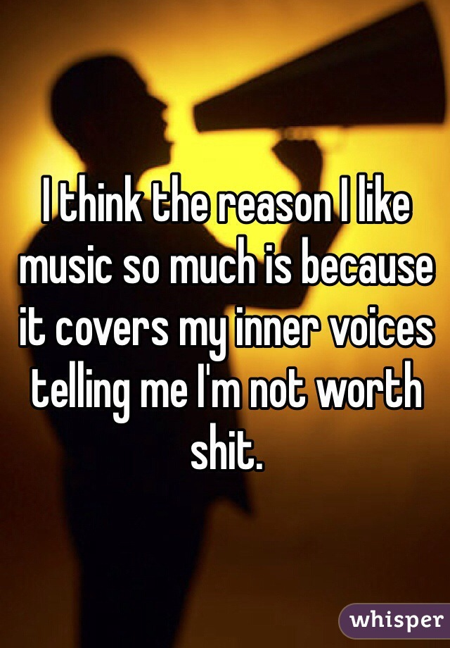 I think the reason I like music so much is because it covers my inner voices telling me I'm not worth shit.