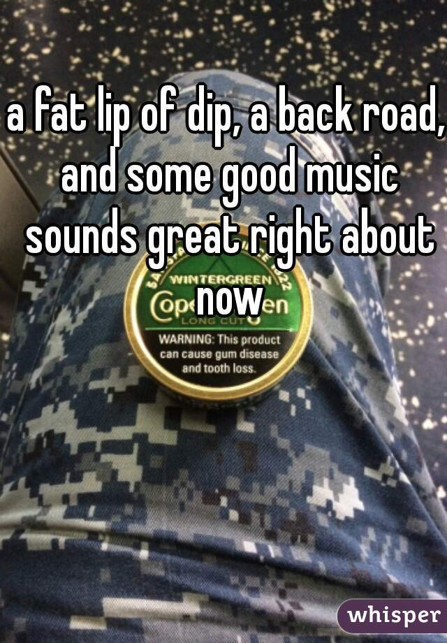 a fat lip of dip, a back road, and some good music sounds great right about now