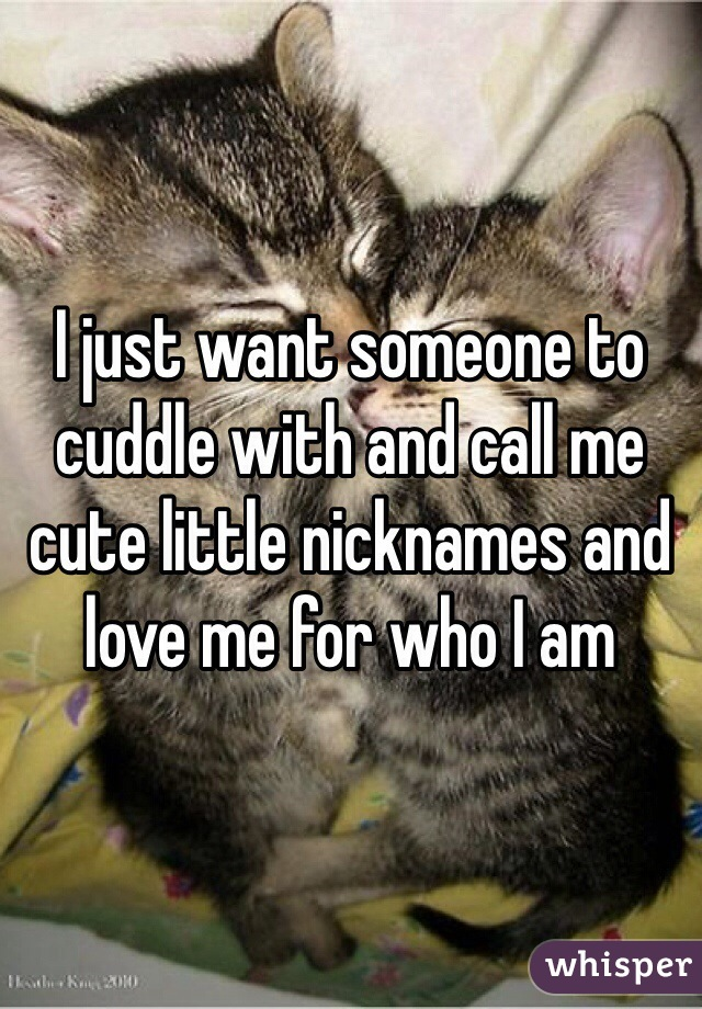 I just want someone to cuddle with and call me cute little nicknames and love me for who I am