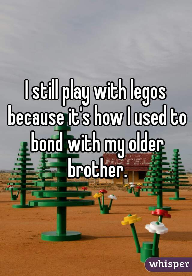 I still play with legos because it's how I used to bond with my older brother.