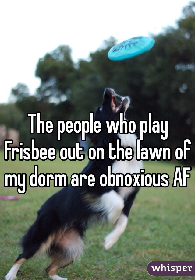 The people who play Frisbee out on the lawn of my dorm are obnoxious AF