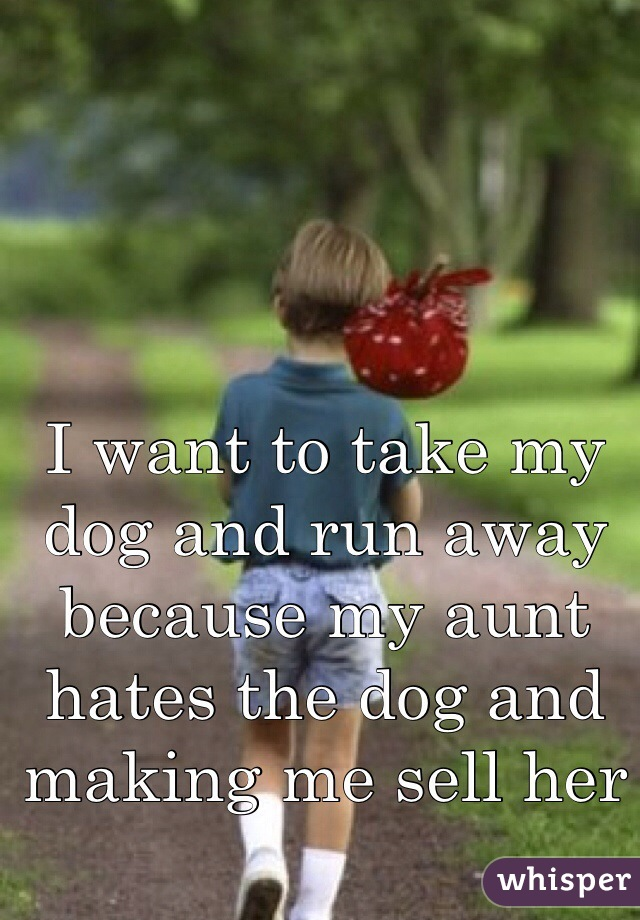 I want to take my dog and run away because my aunt hates the dog and making me sell her