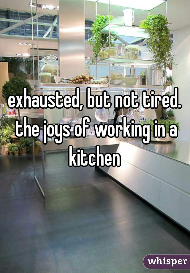 exhausted, but not tired. the joys of working in a kitchen