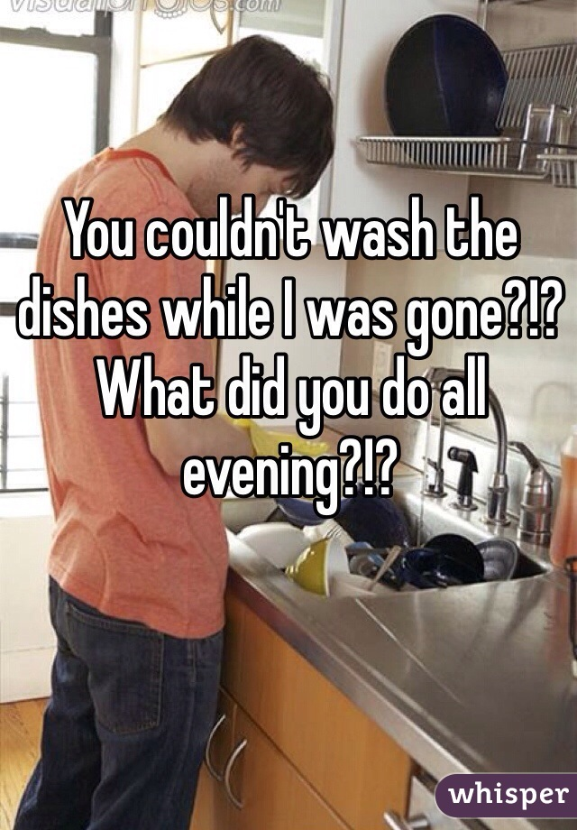 You couldn't wash the dishes while I was gone?!? What did you do all evening?!?