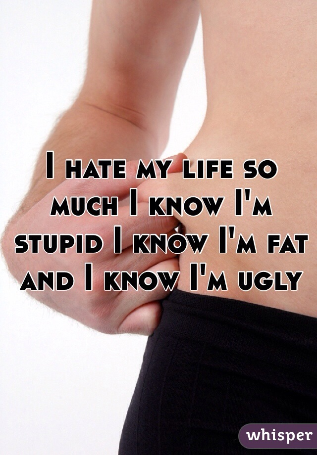 I hate my life so much I know I'm stupid I know I'm fat and I know I'm ugly