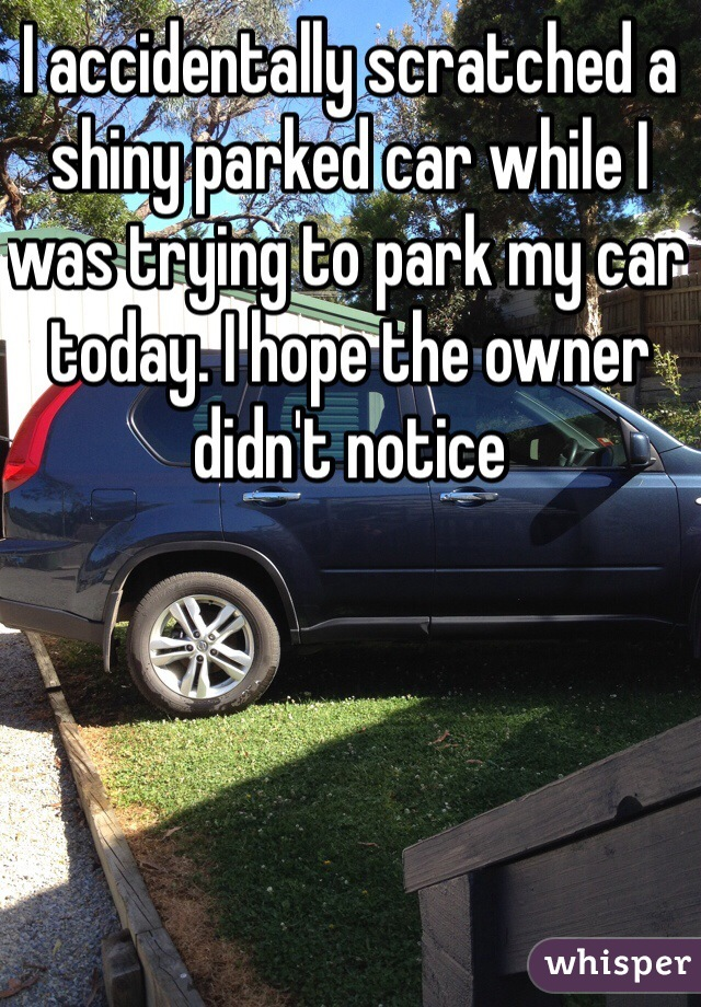 I accidentally scratched a shiny parked car while I was trying to park my car today. I hope the owner didn't notice