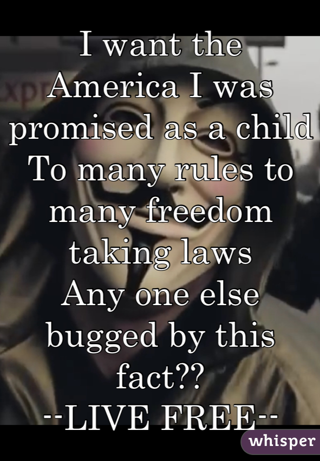 I want the America I was promised as a child To many rules to many freedom taking laws Any one else bugged by this fact??  --LIVE FREE--
