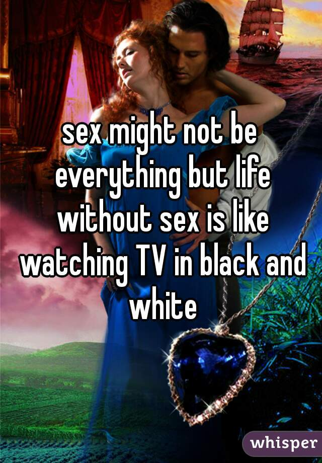sex might not be everything but life without sex is like watching TV in black and white