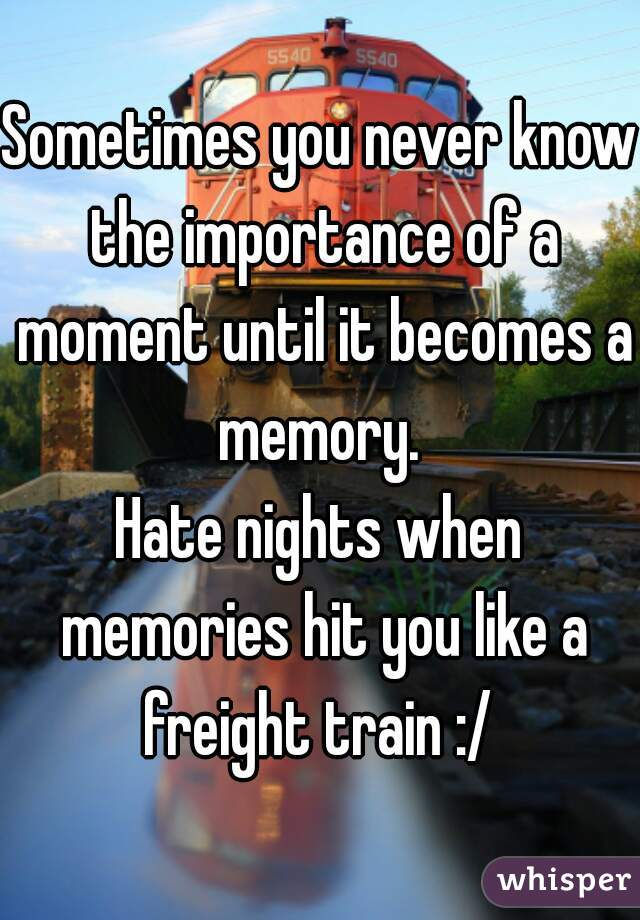 Sometimes you never know the importance of a moment until it becomes a memory.  Hate nights when memories hit you like a freight train :/