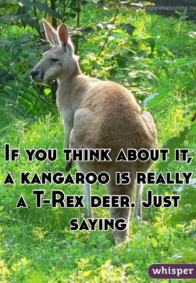 If you think about it, a kangaroo is really a T-Rex deer. Just saying
