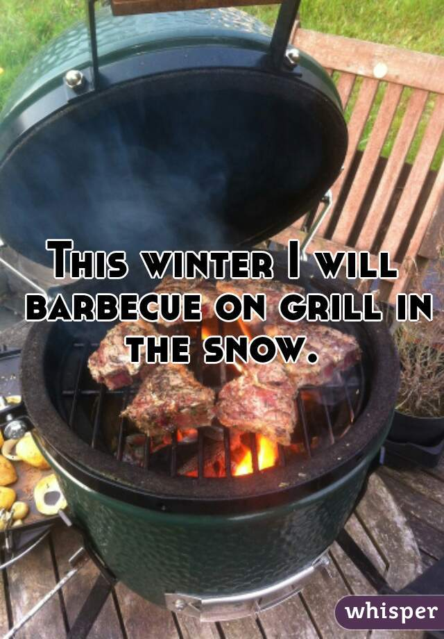 This winter I will barbecue on grill in the snow.