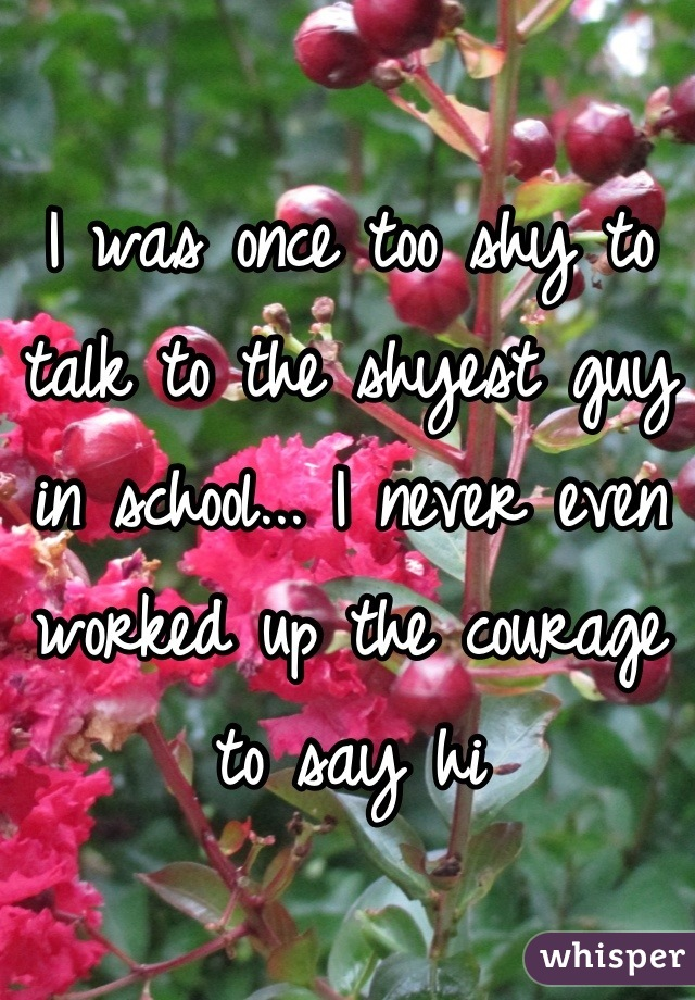 I was once too shy to talk to the shyest guy in school... I never even worked up the courage to say hi